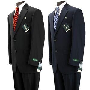 Lauren-by-Ralph-Lauren-100-Wool-Mens-Suit-Black-Navy-Solid-Flat-Front-RL6