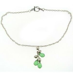 .925 Silver Green Faceted Glass Briolette Silver Bead Tassel Drop Necklace