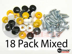 18-PK-CAPS-amp-SCREWS-CAR-NUMBER-PLATE-FIXING-FITTING-KIT