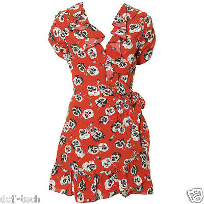 Kate Moss Iconic Red Poppy Pansy Wrap Tea Day Dress Topshop Vtg Debut 12 40 US8