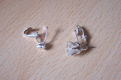 2  PAIRS SILVER TONE PIERCED POST TO CLIP-ON EARRINGS CONVERTERS FINDINGS