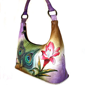 Anuschka-Leather-Small-Hobo-Lily-Flower-Peacock-Feather