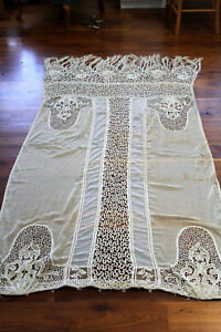 RARE-FRENCH-EDWARDIAN-CHATEAU-LACE-CURTAIN-98-IN-LONG