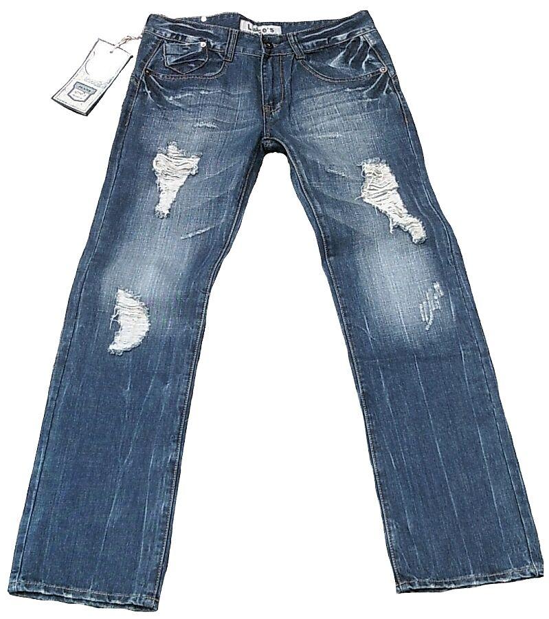 Vip LIUCE'S Stonewash Corneo Lavaggio Destroyed Forato bluee Jeans W31 L34 31 34