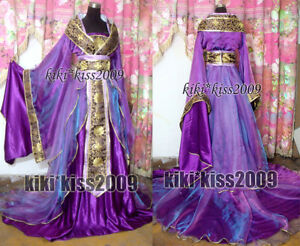 China-Kimono-Lilac-Fairy-Girl-039-s-Purple-Green-Dress-Cosplay-Custom-Made-HanFu
