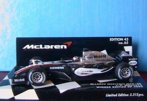 MERCEDES MCLAREN MP4-20 MONTOYA WINNER BRITISH GP 2005 1//43 MINICHAMPS 530054320