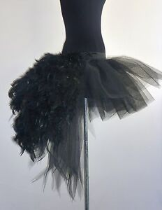 Image Is Loading Burlesque Black Swan Tutu Skirt Feather FancyDress Sexy