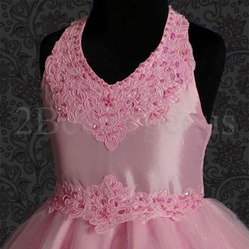 Beads Halter Dresses Wedding Flower Girl Bridesmaid Party Occasion Age 2y-7y 013