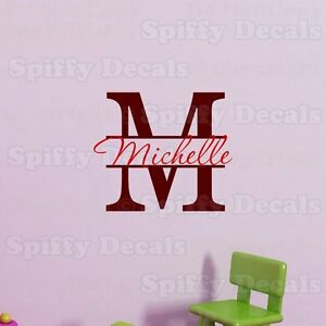 PERSONALIZED-MONOGRAM-NAME-amp-INITIAL-BOY-GIRL-Vinyl-Wall-Decal-Decor-Sticker