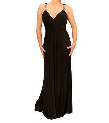 Blue Banana - New Black Diamante Strap Long Maxi Dress