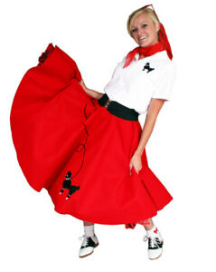 5-pc-Adult-50-039-s-POODLE-SKIRT-Outfit-CHOOSE-Size-Color