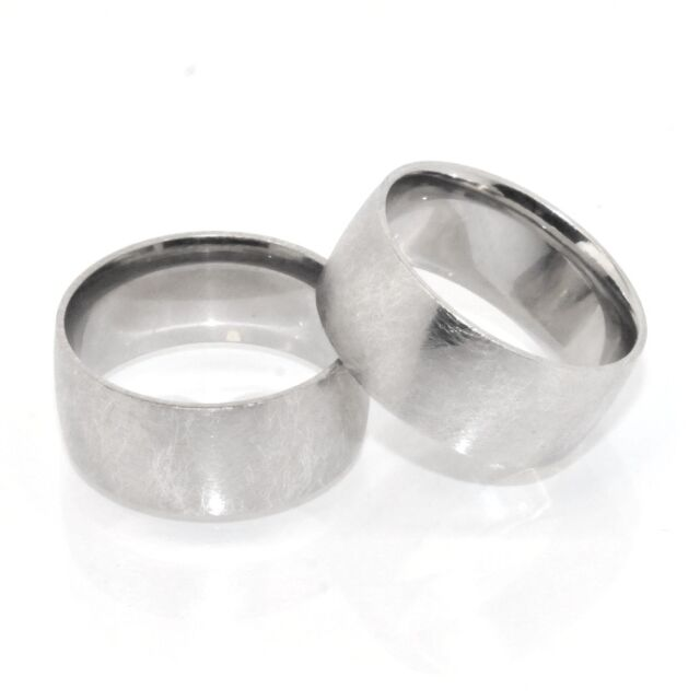 Mens Bold 9mm Platinum Clad Brushed Satin Finish Band Ring Sterling Silver 925