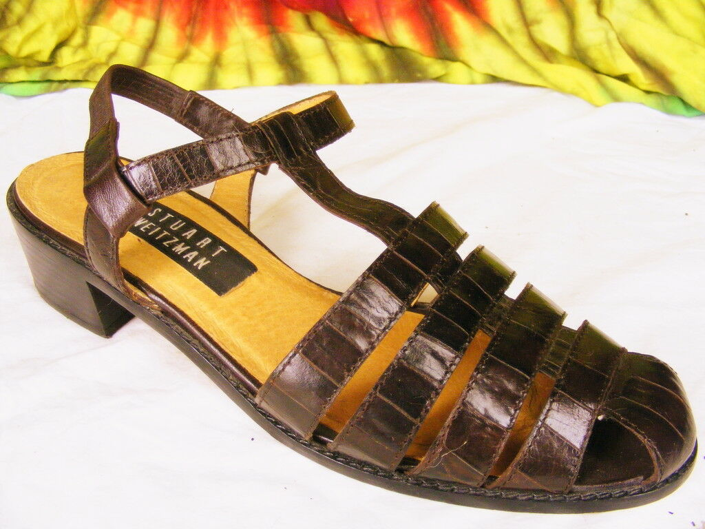 alta qualità generale 8 N Marrone moc croc S S S WEITZMAN closed toe sandals scarpe  sconto online di vendita