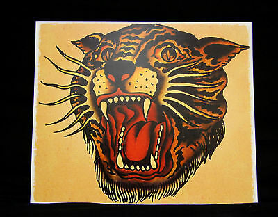vintage Sailor Jerry tattoo Bengal TIGER poster print