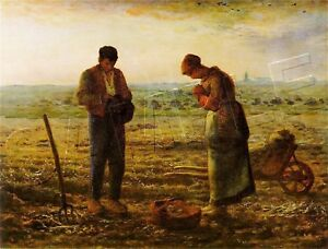 The-ANGELUS-Millet-FARMERS-Praying-CANVAS-Art-LARGE