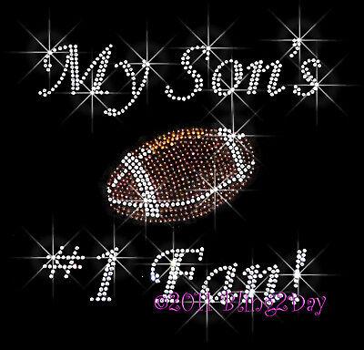 MY SONS 1 FAN RHINESTONE IRON ON TRANSFER HOT FIX MOM