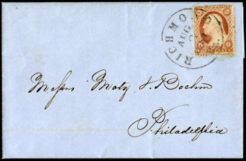 #25 TYPE I W RICHMOND, VA CANCEL ON 1857 CVR BM7222