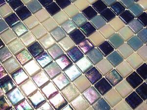 glasmosaik fliesen mosaik perlmutteffekt blau weiss perlmutt bad pool dusche ebay. Black Bedroom Furniture Sets. Home Design Ideas