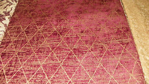 Burgundy-Gold-Lattice-Chenille-Upholstery-Fabric-Remnant-F379