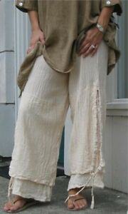 OH-MY-GAUZE-Cotton-Lagenlook-PORTO-Layer-Pants-OS-M-L-XL-1X-WASHED-SAND