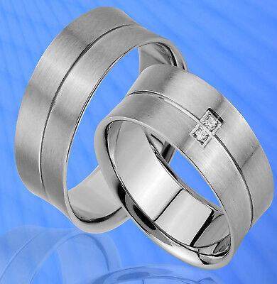 2 Ringe Partnerringe Trauringe Mit 2 Steine , Gravur Gratis , Je165-2 Hell Und Durchscheinend Im Aussehen