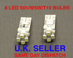 8-LED-SIDE-LIGHT-BULBS-CAN-BUS-FREE-501-T10-W5W-WHITE