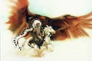 Bev-Doolittle-RUSHING-WAR-EAGLE-WSS-Print-Camoflauge-Horse-Native-Indian-Art