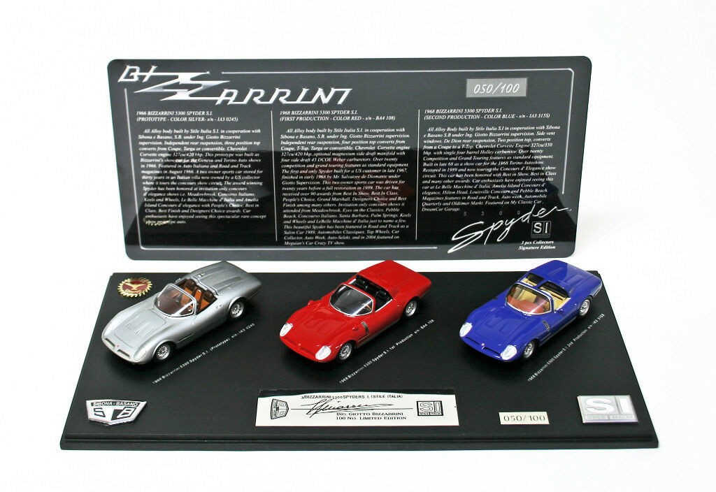 oferta de tienda Bizzarrini 5300 Spyder S.I 3 Pc edición limitada de firma firma firma 81 100 1 43 Raro Nuevo  mejor servicio