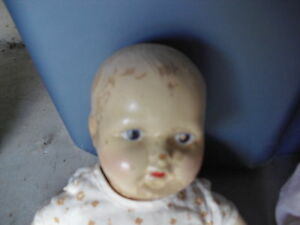 OLD-1920s-Composition-and-Cloth-Baby-Girl-Character-Doll-14-Tall