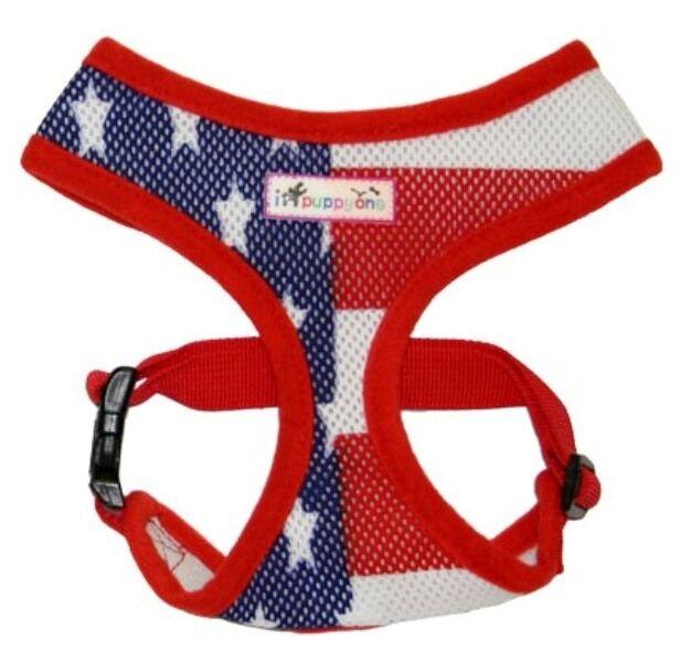 Patriotic Mesh Dog Harness Red White Blue USA Flag Colors Soft Collar iPuppyOne