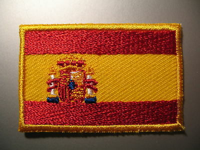 SPAIN Spanish Flag Small Iron On / Sew On Cloth Patch Badge Bandera de España