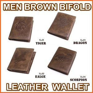 MENS-LEATHER-BIFOLD-WALLET-TIGER-EAGLE-DRAGON-SCORPION