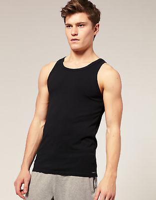 10 * ZAAS Mens Black Plain Interlock Vests Egyptian Combed 100 % Organic Cotton