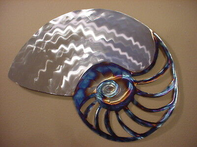 LARGE NAUTILUS SHELL STEEL METAL COASTAL WALL ART OCEAN BEACH COTTAGE HOME DECOR