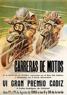 1950 MOTORCYCLE BIKE RACE PRIX CADIZ CARRERAS MOTOS SPAIN VINTAGE POSTER REPRO