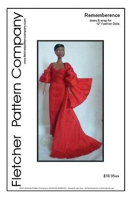 "Rememberence Gown & Wrap Doll Clothes Sewing Pattern for 12"" Fashion Dolls"