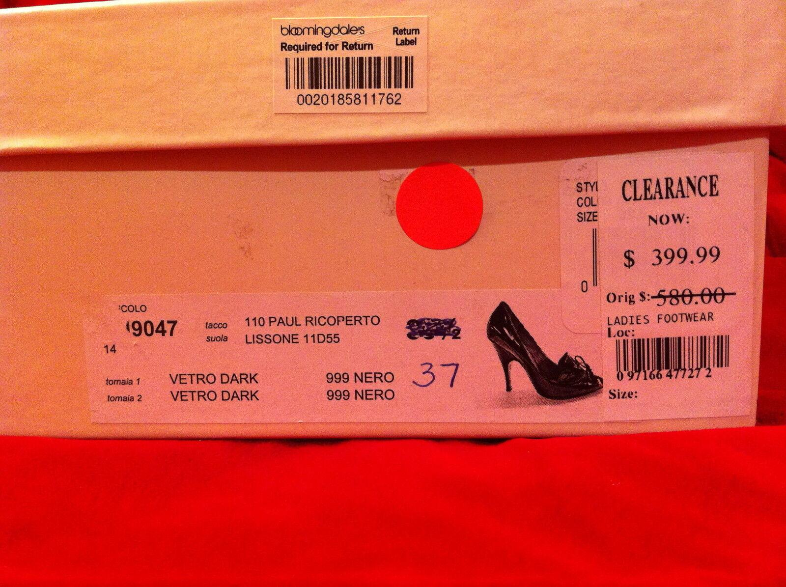 580 NwB Marc Jacobs Jacobs Jacobs Negro Patente Cuero Bombas Talle 37-Femme Fatale ef4e9b