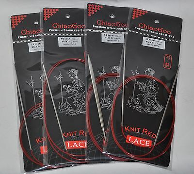 ChiaoGoo Red Lace Circular Knitting Needles New in Package MPN 7000