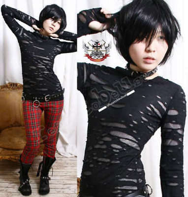 RTBU UNISEX Black Goth Punk Mummy RAG HOLE Top+Mitten