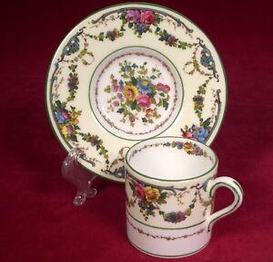 Wedgwood Grosvenor W697 Demitasse Cup & Saucer Floral Green Pink Blue Flowers