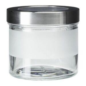 ikea pot d 39 epices avec couvercle droppar verre neuf en acier inoxydable ebay. Black Bedroom Furniture Sets. Home Design Ideas