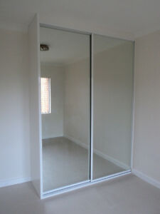 diy built in wardrobe mirror glass sliding doors made to. Black Bedroom Furniture Sets. Home Design Ideas