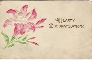Antique-POSTCARD-Baby-in-Flower-CONGRATULATIONS-Emb