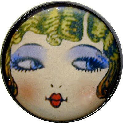 """Crystal Dome Button Roaring 20s Flapper Girl - """" Goldie """""""