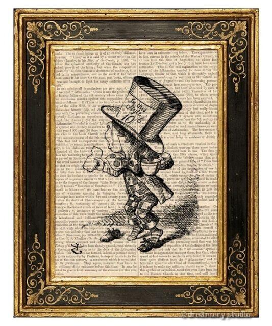 Alice in Wonderland Art Print on Antique Book Page Vintage Illust Mad Hatter 1
