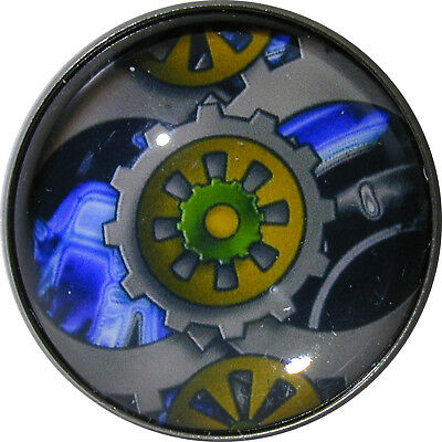 Crystal Dome Button Steampunk 1 inch  Gears  SP7 Blu/Green/Gray FREE US SHIPPING