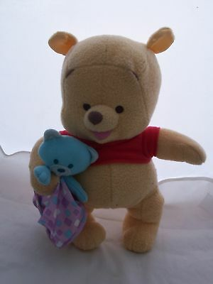 DISNEY WINNIE THE POOH Stuffed Plush Animal With Baby Bear & Burp Blankie CUTIE