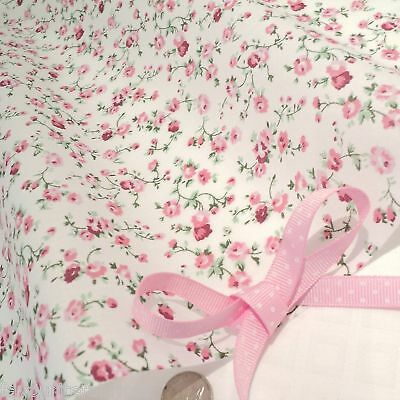 MOLLY -  CREAM/ PINK COTTON FABRIC shabby FLORAL chic