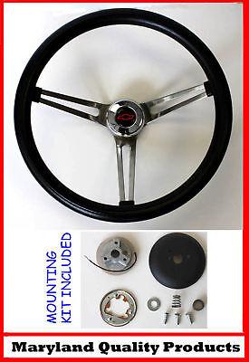 "Chevelle Nova Camaro Impala Grant Black Steering Wheel 15"" RB"