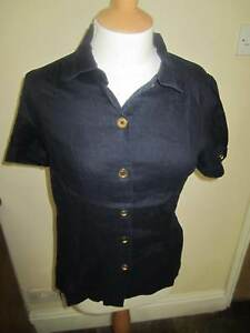 JOULES-Powderham-Navy-Linen-Blouse-Shirt-FreeUKP-amp-P-Sz-10